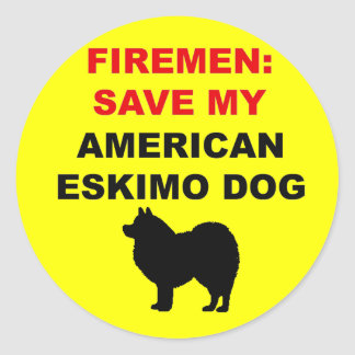 Fireman Save My American Eskimo Dog Classic Round Sticker