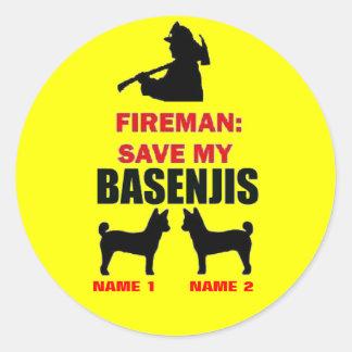 Fireman Save My Basenjis Classic Round Sticker