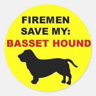 Fireman Save My Basset Hound Classic Round Sticker