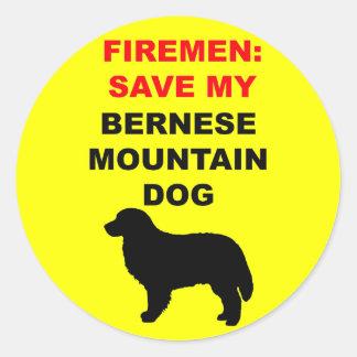 Fireman Save My Bernese Mountain Dog Classic Round Sticker