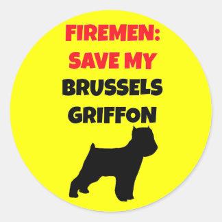 Fireman Save My Brussels Griffon Round Sticker