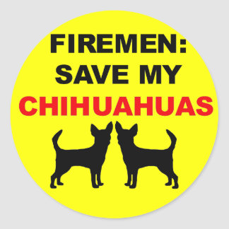 Fireman Save My Chihuahuas Stickers