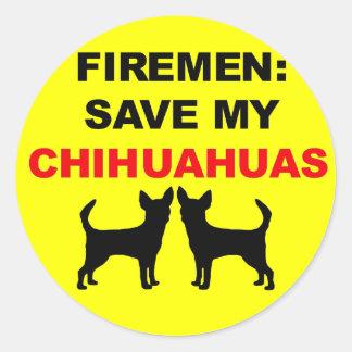 Fireman Save My Chihuahuas Stickers