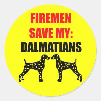 Fireman Save My Dalmatians Classic Round Sticker