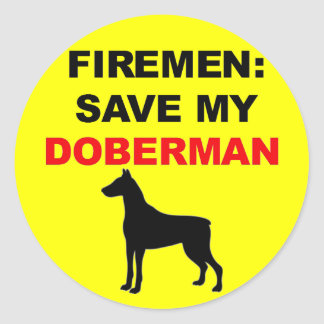 Fireman Save My Doberman Classic Round Sticker