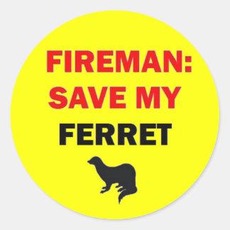 Fireman Save My Ferret Classic Round Sticker