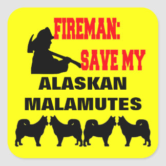 Fireman Save My FOUR Alaskan Malamute Dogs Square Sticker