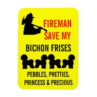 Fireman Save My Four Bichon Frises Safety Magnet