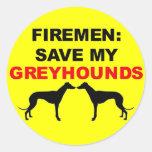 Fireman Save My Greyhounds Round Sticker