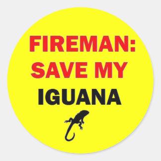 Fireman Save My Iguana Classic Round Sticker