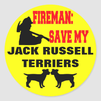 Fireman Save My Jack Russell Terriers Round Sticker