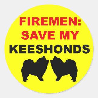 Fireman Save My Keeshonds Classic Round Sticker
