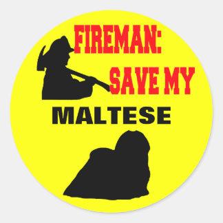 Fireman Save My Maltese Classic Round Sticker