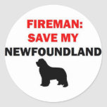 Fireman Save My Newfoundland Dog Classic Round Sticker
