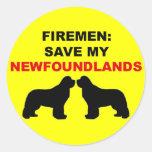 Fireman Save My Newfoundlands Round Stickers