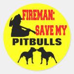 Fireman Save My Pitbulls Stickers