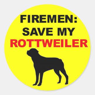 Fireman Save My Rottweiler Classic Round Sticker