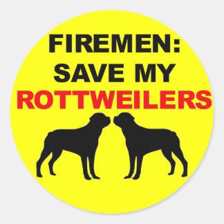 Fireman Save My Rottweilers Classic Round Sticker