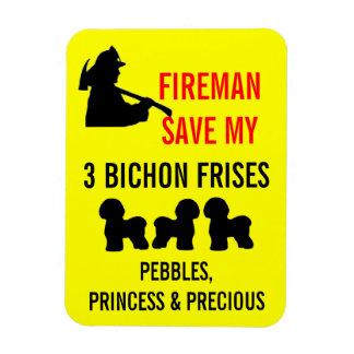 Fireman Save My Three Bichon Frises Safety Rectangular Photo Magnet