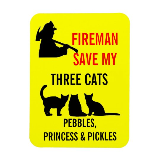 Fireman Save My Three Cats Safety Rectangular Photo Magnet
