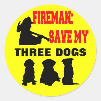 Fireman Save My Three Dogs Classic Round Sticker