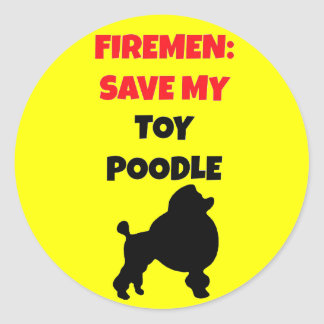 Fireman Save My Toy Poodle Classic Round Sticker