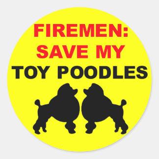 Fireman Save My Toy Poodles Round Sticker