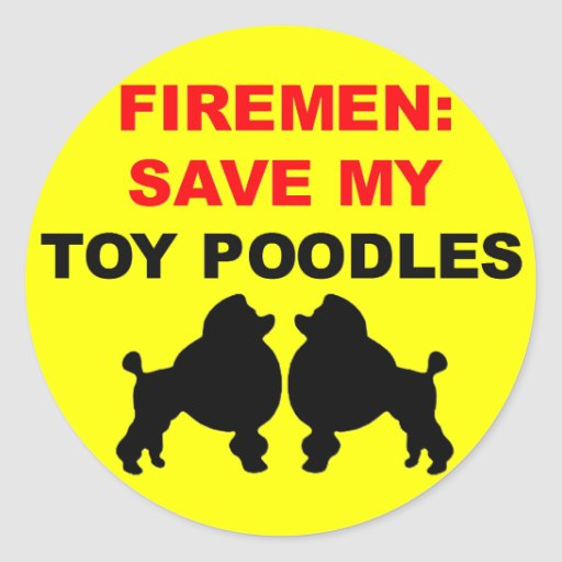 Fireman Save My Toy Poodles Stickers