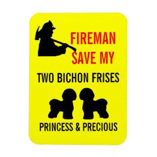 Fireman Save My Two Bichon Frises Safety Rectangular Photo Magnet