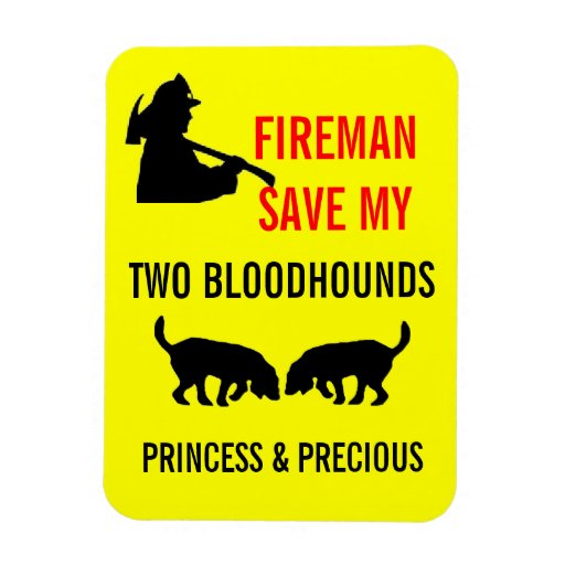 Fireman Save My Two Bloodhounds Fire Safety Rectangle Magnet