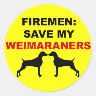 Fireman Save My Weimaraners Classic Round Sticker