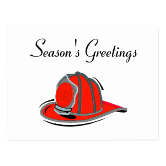 Fireman Seasons Greetings Postcard