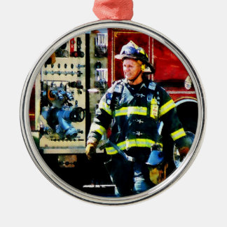 Fireman Silver-Colored Round Decoration