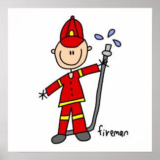 Fireman Stick Figure Poster