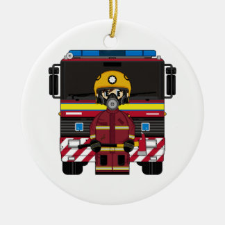 Fireman wit Fire Engine Ornament