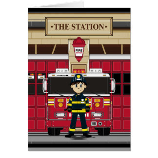 Fireman with Fire Engine Card
