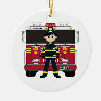 Fireman with Fire Engine Coaster Round Ceramic Decoration