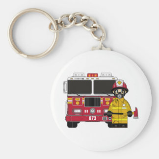 Fireman with Fire Engine Keychain