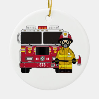 Fireman with Fire Engine Ornament