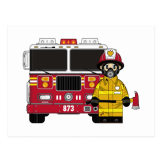 Fireman with Fire Engine Postcard