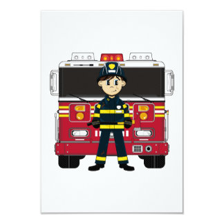 Fireman with Fire Engine RSVP Card
