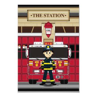 Fireman with Fire Engine RSVP Card 9 Cm X 13 Cm Invitation Card