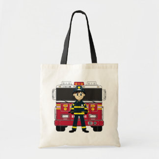 Fireman with Fire Engine Tote Bag