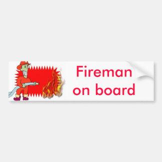 Fireman with flames bumper sticker
