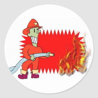 Fireman with flames classic round sticker