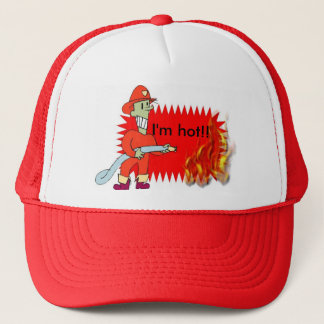 Fireman with flames trucker hat