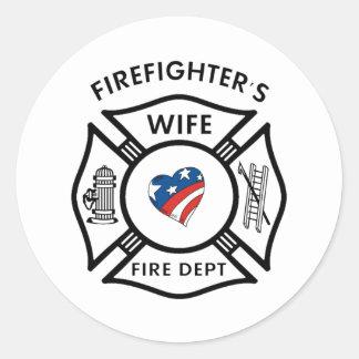 Fireman Wives USA Classic Round Sticker