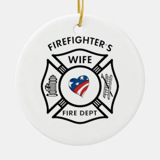 Fireman Wives USA Round Ceramic Decoration