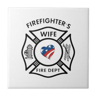 Fireman Wives USA Small Square Tile