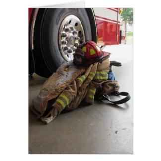 Fireman's gear and truck card